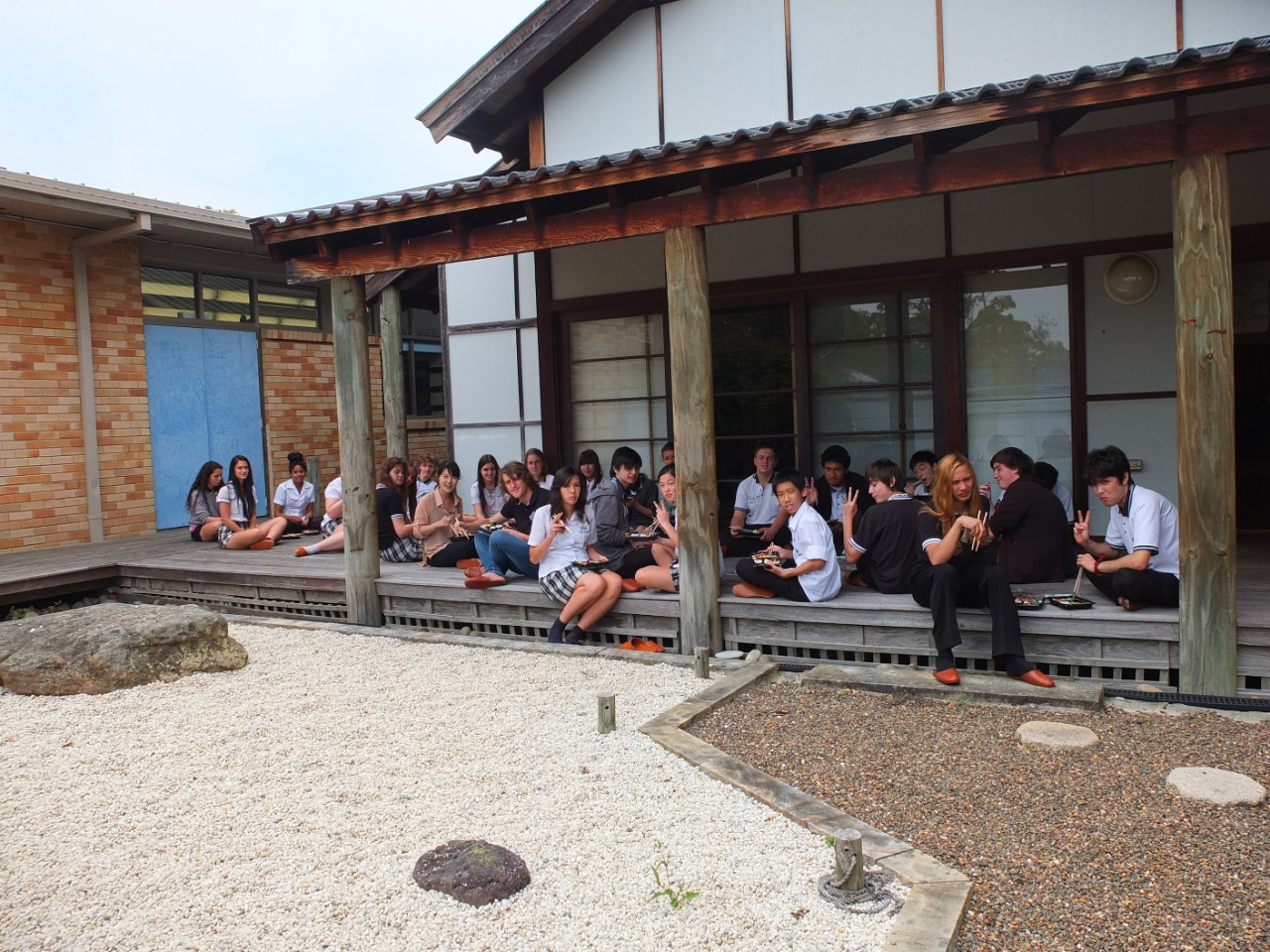 Some of our language students enjoying a zen garden.