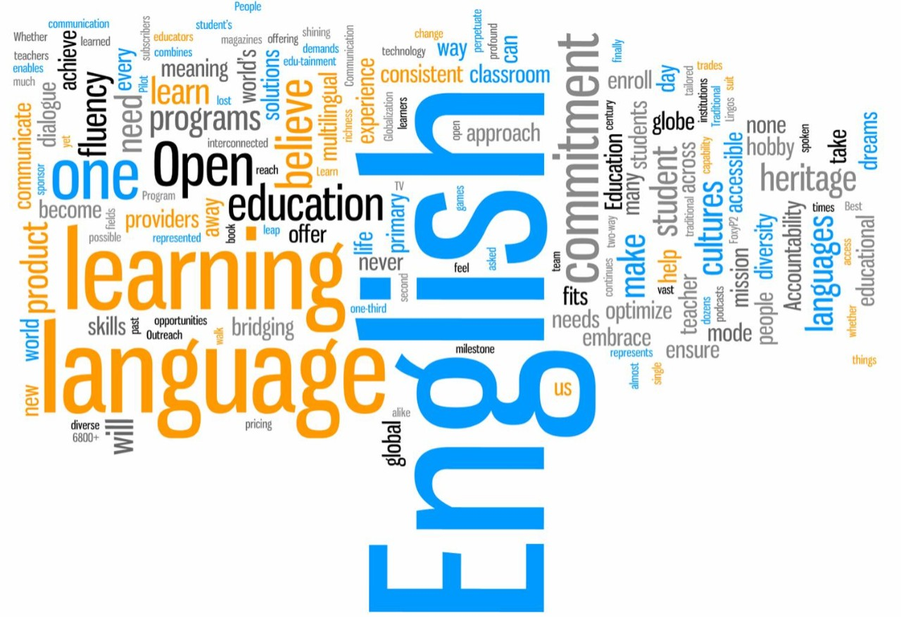 An image of a word cloud with English being the largest word and words related to education and the english language filling the rest of the cloud.