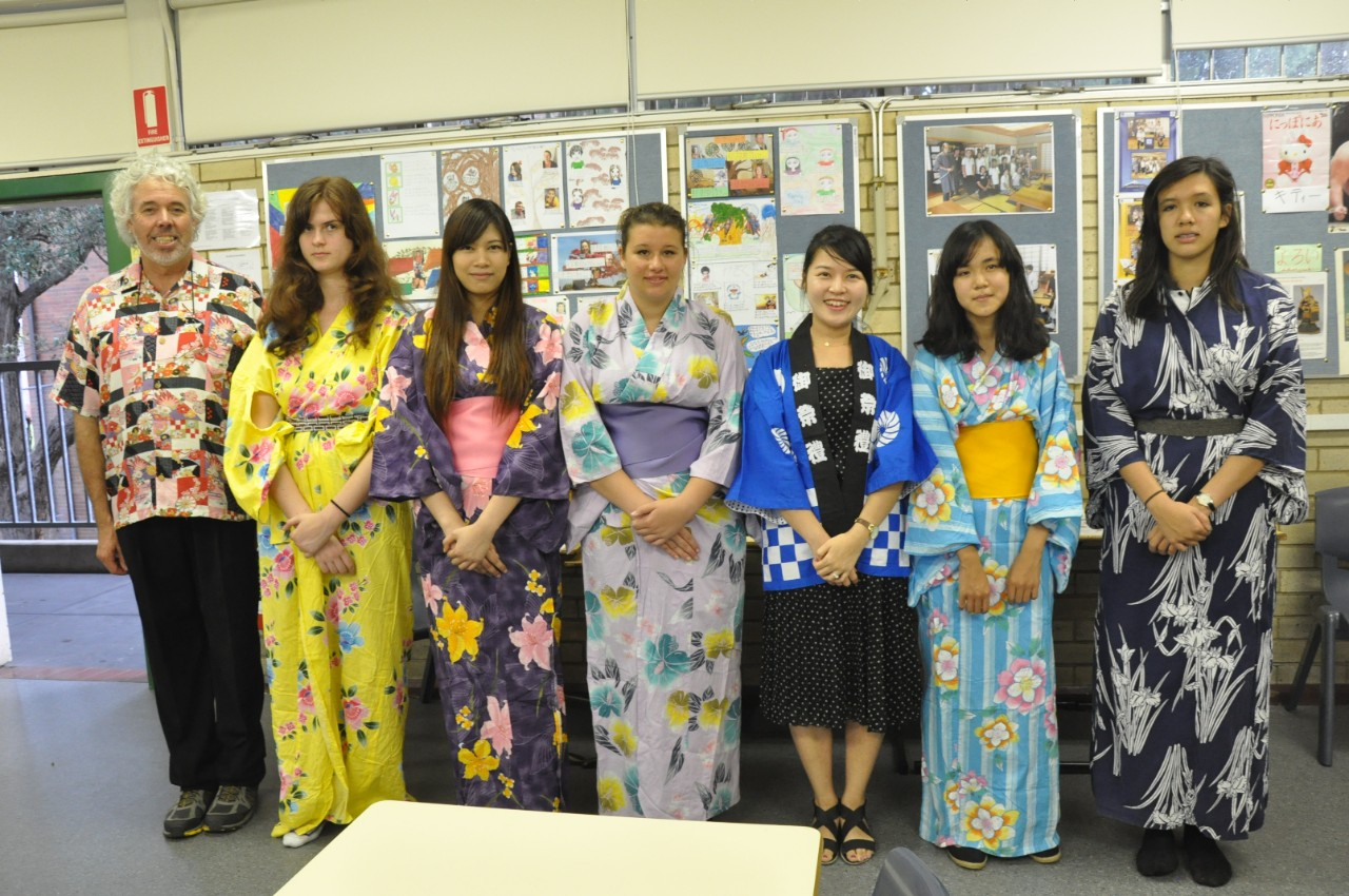 Some of our students demonstrating lovely Japanese kimonos.